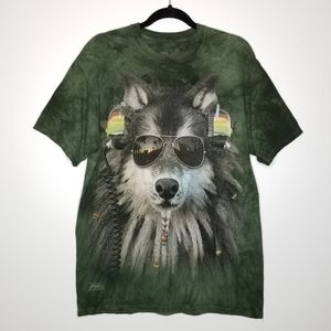The Mountain Graphic Wolf Tee M Forest Green